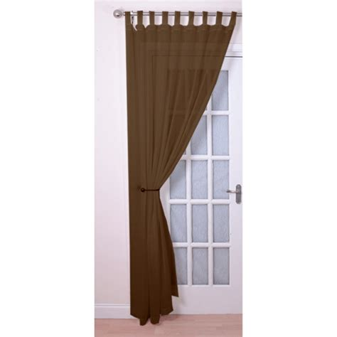 brown tab top curtains tab top voile panels pair finished in brown
