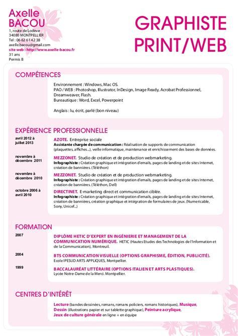 Modèle Cv Débutant by Resume Format Exemple De Cv Infographiste Gratuit