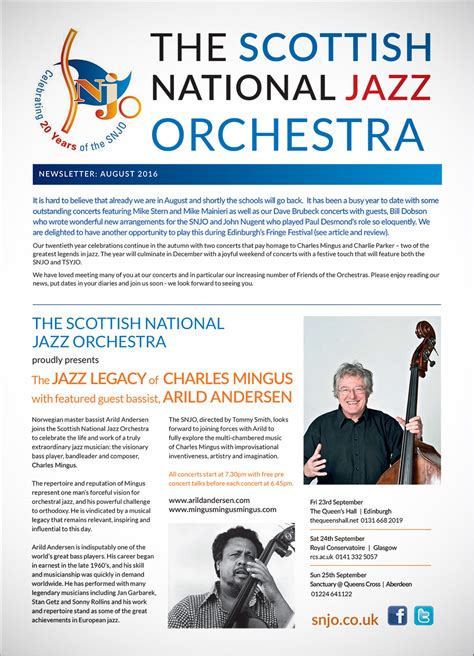 Newly Added To The Newsletter by August 2016 Newsletter Scottish National Jazz Orchestra