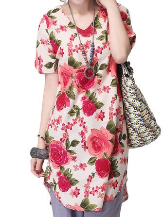 Blouse Kasual Ethnic Asyavias casual ethnic style flower printed split cotton