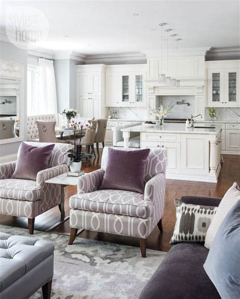 Open Living Room Kitchen Color Ideas Gorgeous White Purple And Light Grey Open Concept