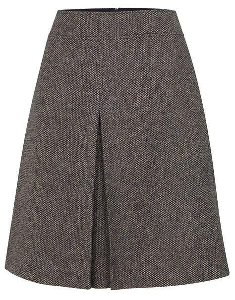 s tweed wool skirt in navy tweed from crew clothing