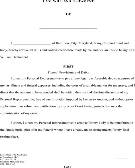 Download Maryland Last Will And Testament Form For Free Page 2 Formtemplate Last Will And Testament Template Maryland Free
