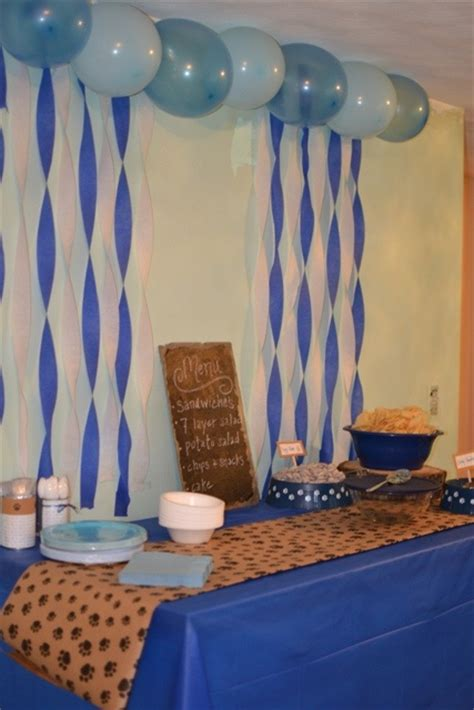 Puppy Themed Baby Shower by Puppy Paw Print Theme Boy Baby Shower Ideas