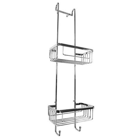 hanging chrome shower basket at home
