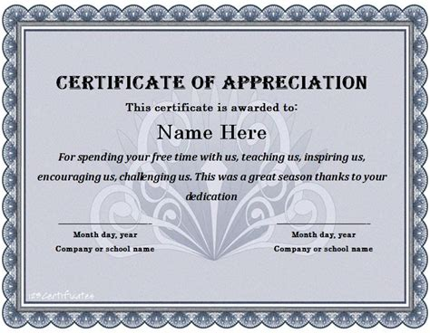 Free Appreciation Card Template by Certificate Of Appreciation 21 Places To Visit