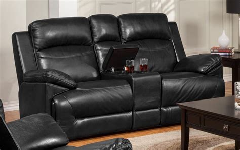 cortez black dual glider reclining loveseat with console