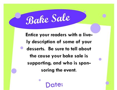 bake sale poster bake sale poster template