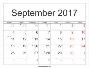 Calendar 2017 September Holidays September 2017 Calendar Printable With Holidays Pdf And Jpg