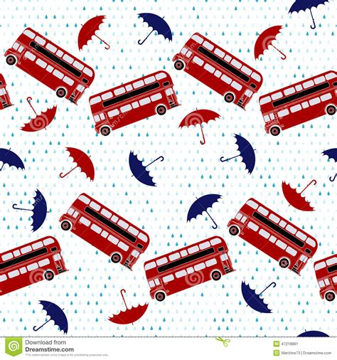united kingdom pattern seamless pattern with double decker buses and umbrellas