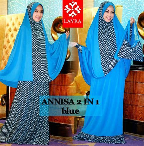 Zahra Khimar Pet Ukuran L annisa 2in1 blue baju muslim gamis modern