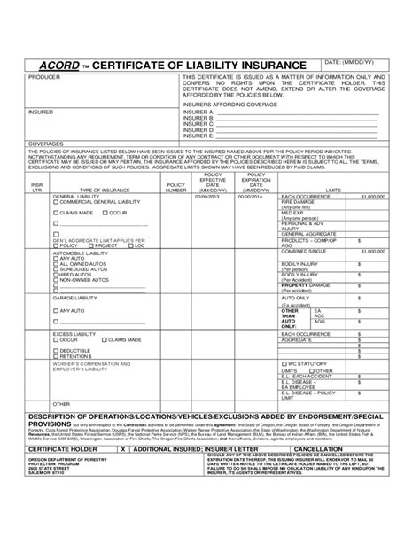 certificate of liability insurance template certificate of liability insurance form 5 free templates