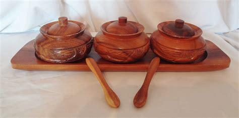 Tray Set Hawaii 9 alii woods honolulu wood tray condiment bowl spoon set hawaii tiki hut bowls