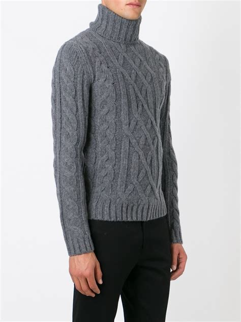 grey cable knit sweater woolrich cable knit turtleneck sweater in gray for