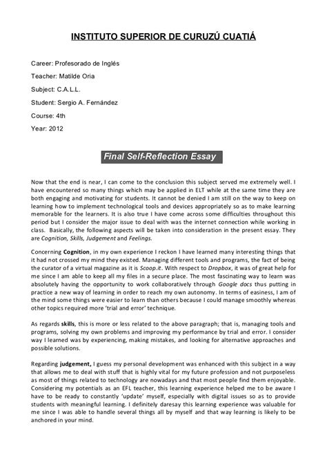 reflective essay biology course