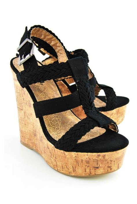 soda sotto black wedges shoes