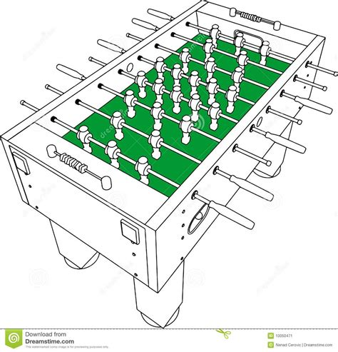 Foosball Tabletop Soccer by Table Football And Soccer Game Perspective Vector Stock