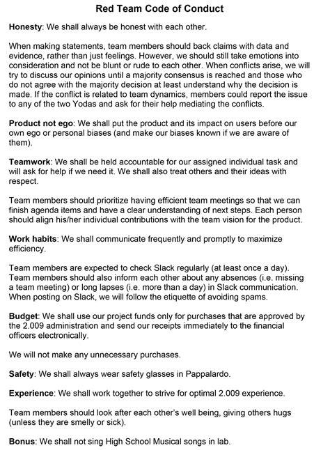 Code Of Conduct Exle Staruptalent Com Vendor Code Of Conduct Template