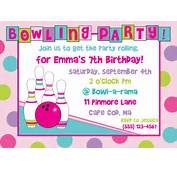 Bowling Birthday Party Invitation Girl By AnchorBlueDesign