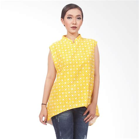 Fashion Xl Wanita In Newyork 072350 Tunik Blouse Dress Blouse Batik Tanpa Lengan Collar Blouses