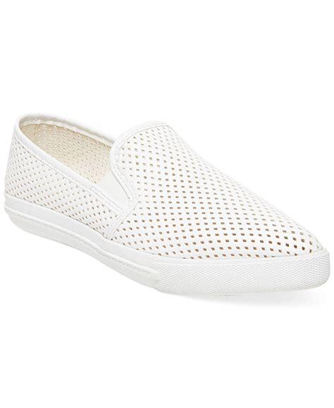 white slip on sneakers steve madden s virggo slip on sneakers in white lyst