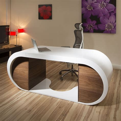 Large Modern Designer Desk Work Station White Gloss Glossy White Shiny Desk