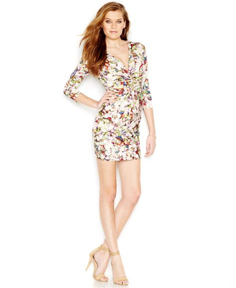Guess Fashion Gold White guess printed bodycon dress lyst