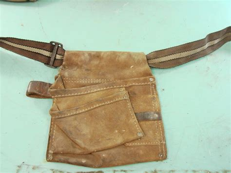 lot of 18 antique iron worker leather tool belts carpenter