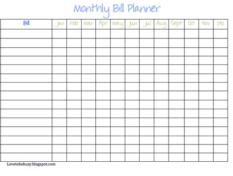 monthly bills spreadsheet printable calendar template 2016