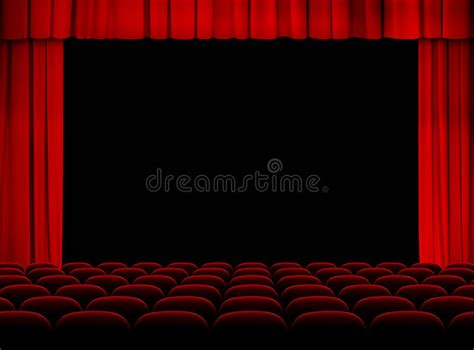 tende da cinema theater auditorium with stage curtains and seats stock