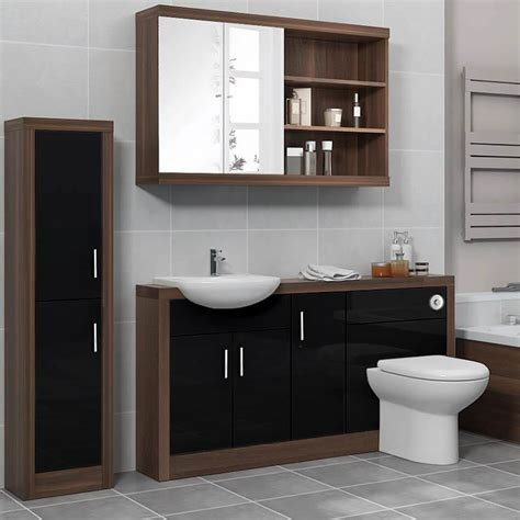 funky bathroom furniture lucido 1500 fitted bathroom furniture pack black buy