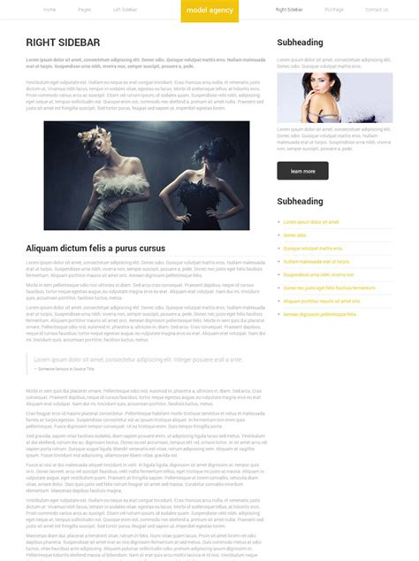 Promotional Modeling Web Template Model Agency Website Model Agency Template