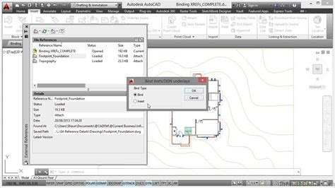 tutorial autocad xref autocad working with references tutorial binding xrefs