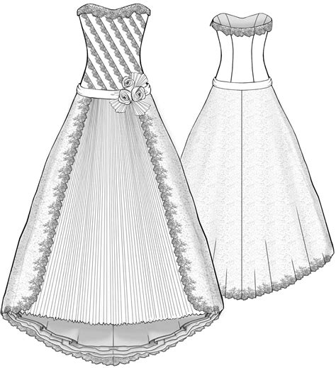 drawing a pattern for dress wedding dress with diagonal inlays and frilled inset