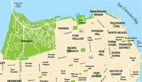 san francisco neighborhood map poster san francisco maps for visitors bay city guide san