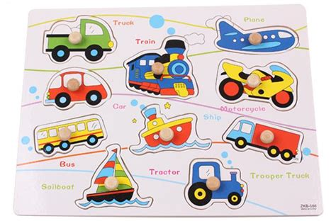 Puzzle Jigsaw Transportasi free shipping wooden toys puzzle cognitive transport