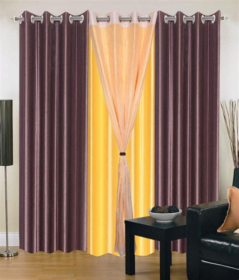 yellow and brown curtains madhav product set of 4 door eyelet curtains solid yellow