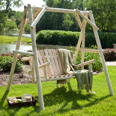porch swing a frame coral coast rustic natural log curved back porch swing and