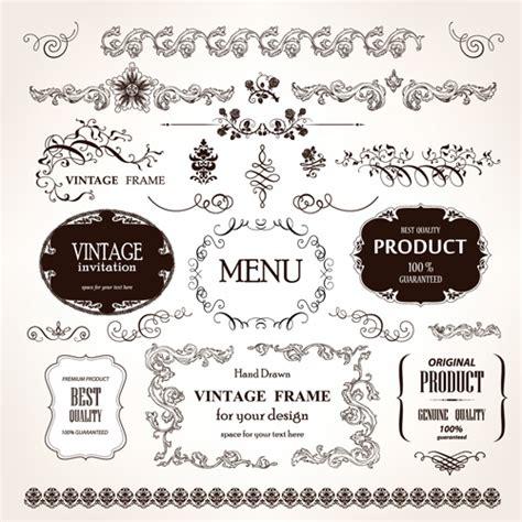 vintage design elements font set of vintage design elements vector borders 03 vector