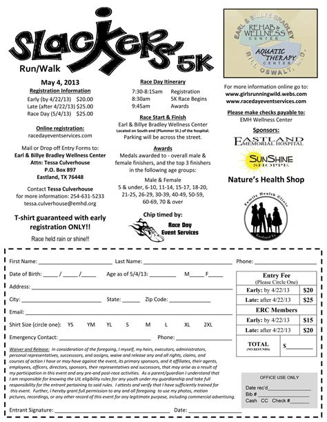 race registration form template slackers 5k may 4th microplexnews