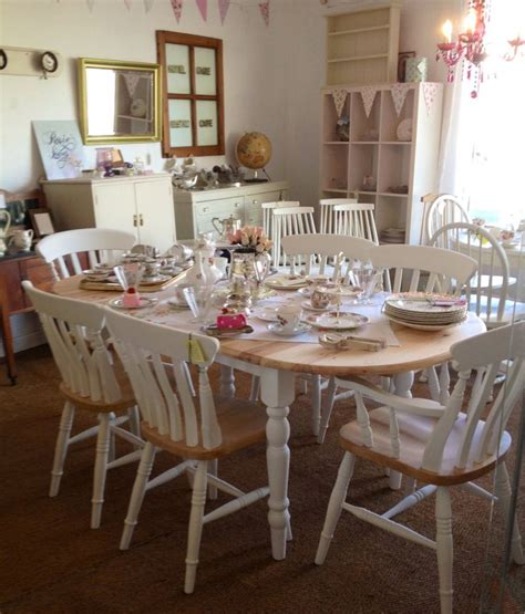 vintage painted shabby chic pine table and farmhouse chairs at rosie loves vintage eckb 228 nke