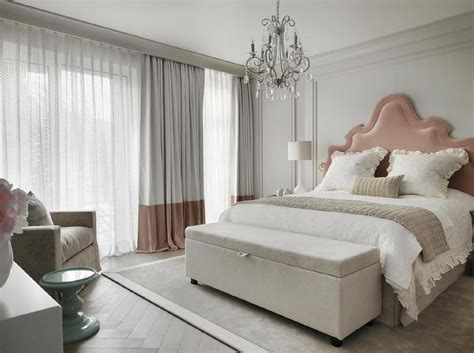 Headboards And Interiors by Pink And Gray Bedroom With Pink Velvet Headboard And Pink