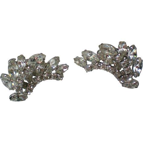 Rhinestone Clip Earrings signed kramer rhinestone clip earrings from rubylane sold