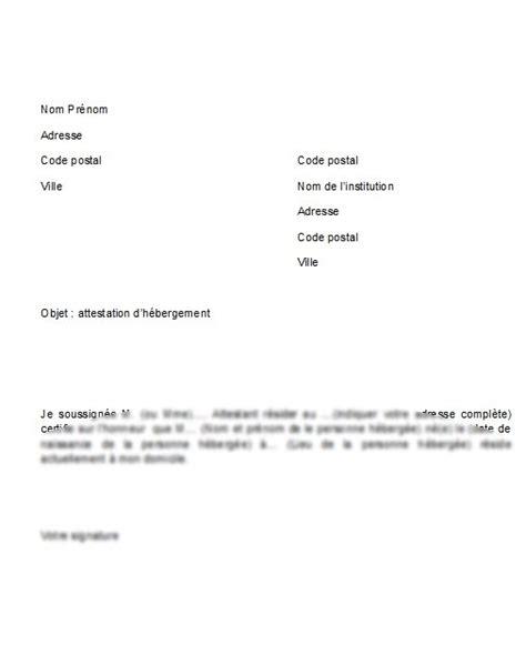 Letter Type Attestation Hebergement Sle Cover Letter Exemple De Lettre D H 233 Bergement
