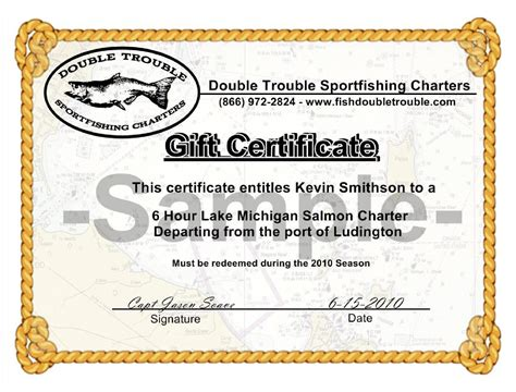 fishing gift certificate template purchase personalize gift certificates for fishing charters