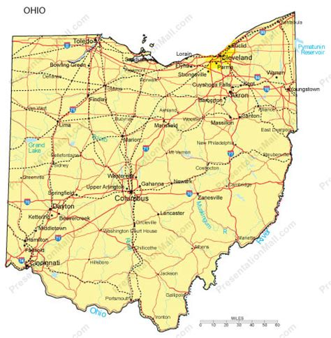 ohio map with major cities ohio powerpoint map counties major cities and major