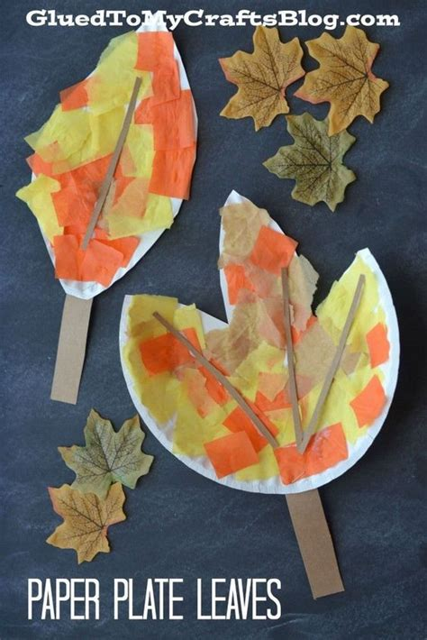 Fall Paper Plate Crafts - paper plate leaf kid craft for fall leaves