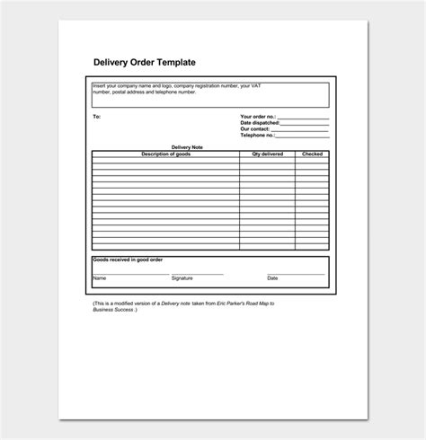 delivery order template delivery order template 5 forms for word excel pdf format