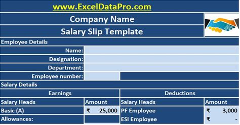 corporate salary slip excel template exceldatapro