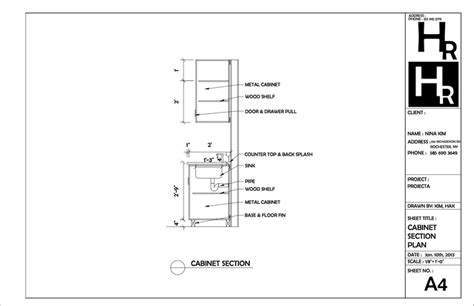 technical drawing section cabinet section drawing portfolio autocad pinterest